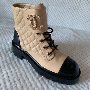 NIB 2020 Chanel Combat Boots Beige 35-36-39.5