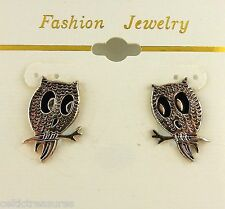 Silver Plated Pewter Owl Post Earrings Jewelry