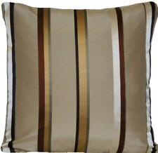 Stripes Cushions Cover Silk Woven Lorca Fabric Samoa Gold Grey Taupe CLEARANCE