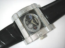 Ice Star Hip Hop Big Case Leather Band Men's Watch Item 3155