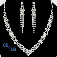 CLEARANCE CLEAR CRYSTAL PROM WEDDING FORMAL NECKLACE JEWELRY SET TRENDY