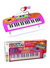 Kids Electronic Pink Blue Toy Rock star Keyboard Piano Tune Set With Microphone
