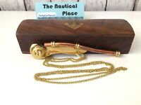 Brass / Copper Boatswain Whistle w/ Box ~ Bosun Call Pipe ~ Nautical Maritime
