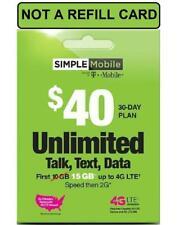 Simple Mobile SIM incl $40 Plan Unltd Talk/Text/15GB LTE+Intl Call (New+Portin)