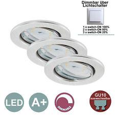 Einbauleuchten Briloner LED 3er Set Einbauspots dimmbar Lichtschalter Aluminium