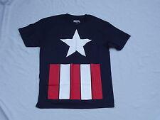 CAPTAIN AMERICA Star & Stirpes Navy Blue Shield t-shirt Sz S NEW MARVEL COMICS