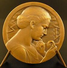 Médaille Figure art déco l'Electricité allégorie 1937 Electricity allegory medal