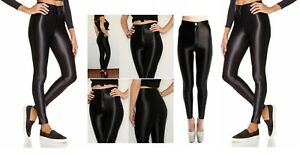 Womens Ladies American High Waisted Disco Shiny Wet Look Leggings Dancing Pants