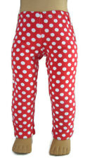"""Handmade for 18"""" American Girl Doll Clothes Red Polka Dot Leggings"""
