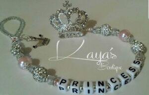 Bling *Diamante Princess Crown* Shamballa Romany Dummy Clip -Any Name-Pink/White