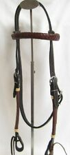 Western Horse Headstall - Reddish Brown/Black - Braided Weave - New
