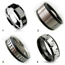 Anello Acciaio da Uomo Colore Nero Bicolore Fascia Larga Fascetta 5 8 10 mm