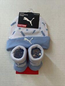 Puma Infant Hat & Bootie Socks Light Blue   0-6Months Cotton New Ship Free USA .