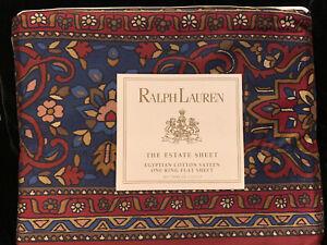 Vtg Ralph Lauren Brentford Jewel KING Flat Sheet Persian Rug Pattern Nip!