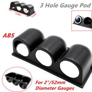 Premium Grade ABS Black 3 Hole Gauge Pod for 52mm Diameter Gauge Of Vehicle