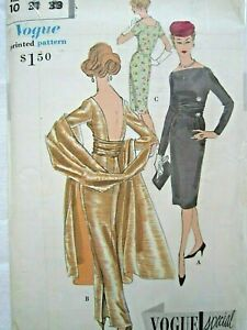 Vintage Vogue Pattern Special Design., Evening dress and Stole , size 10, uncut