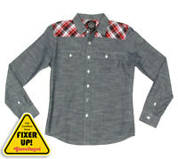 Cary LaScala Western Chambre Red Plaid Long Sleeve Mens Shirt XXS /blemish /3621