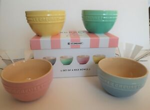 Le Creuset Sorbet Collection 4 bowls Cool Mint Mimosa Pink Yellow Blue Baking