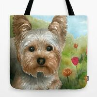 Tote bag All over print Dog 117 Yorkshire art painting by L.Dumas