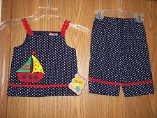 PIcture Me Girls Size 4T Blue Dotted Sailboat 2 Piece Top Pants Little Sailor