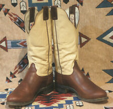 Caballo Tall Top Cowboy Western Boots Tall Brown & Bone Leather Santa Fe Men 9 D