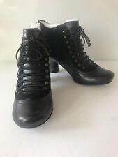 Hush Puppies Vivianna Womens Black Heeled Victorian Zip Up Ankle Boots.