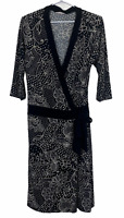 Portmans Womens Black/White Floral 3/4 Sleeve Wrap Dress Size M