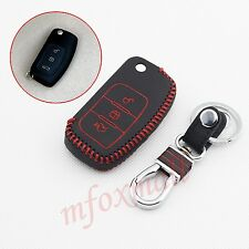 3 Button Leather Key Holder Bag Shell Case Fob For Ford Fiesta Focus Accessories