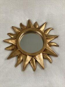 "Hanging Mirror Gold Trim Sun Starburst 11""Sunburst Home Decor EUC"
