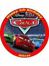 """Disney Cars Personalised 7.5"""" Birthday Cake Topper on Icing"""