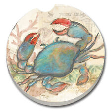 SET OF 2 - Absorbent Car Coasters- SEASIDE BLUE CRAB- NEW- FREE SHIPPING