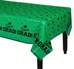 "GRADUATION Party GREEN plastic TABLE COVER 1 tablecloth school colors 54""x84"""