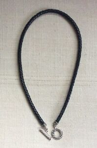 American West/Carolyn Pollack SS Braided Leather Toggle Necklace (Black)