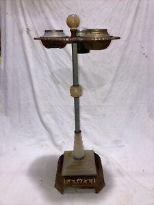Vintage Art Deco Swirl Slag Glass Smoking Stand
