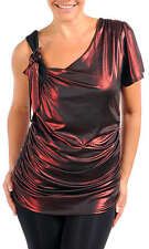 Metallic Red & Black One Sleeved Asymmetrical Top Ruched Sides Size 14 BNWT