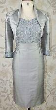 BNWT Paule Vasseur Silver Silk Mother of Bride Groom Races Dress & Jacket Sz 14