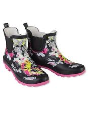 Victorian Trading Co. Black & Pink Floral Wellies Ankle Rain Boots 7