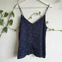 Country Road 'CR' Logo Print Cami M 10-12 Navy White Viscose Satin Adjustable
