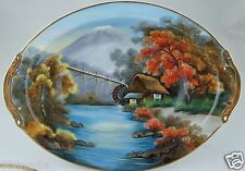 VINTAGE OVAL BOWL HAND PAINTED SCENIC BLOSSOMS JAPAN GOLD RIM FINE CHINA