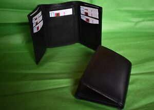 Sheep Nappa Trifold Mens Notecase Wallet. Soft Leather. Black.