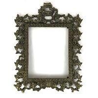 """Victorian Cast Iron Gold 17"""" Art Nouveau Antique Picture Frame Ornate Holds 8x10"""