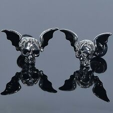 Stainless Steel Wings Skull Earrings Black Dragon Wings Ear Studs Cheater Plugs