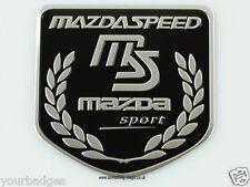 Brushed Aluminium Mazda Speed Sport Shield badge finished in black