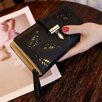 Women Long Wallet Leather Purse Hollow Leaves Clutch For Coin Holder Handbag