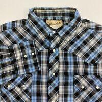 Wrangler Snap Up Shirt Mens 2XL XXL Gray Blue Long Sleeve Plaid Western Cowboy