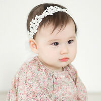 Baby Girls White Floral Hair band Adjustable Headband Lace Flower Headband WG