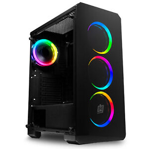Deco Gear Mid-Tower PC Gaming Computer Case - Full Tempered Glass LED Lighting
