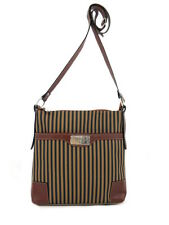 LEATHER PANELS CANVAS CROSS BODY STRIPED COGNAC LEATHER TRIM