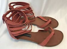 STEVEN by Steve Madden Womens 8.5 Coral Snakeskin Print Leather Ankle Sandals