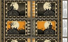 COME SIT A SPELL SPOOKY GRAVEYARD HALLOWEEN FABRIC PLACEMAT PANEL
